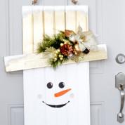 Веселый снеговик на дверь